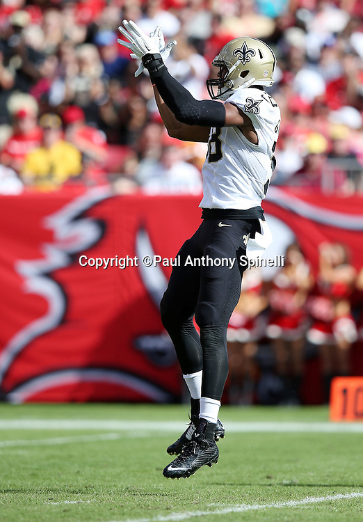New Orleans Saints defensive end Obum Gwacham (58) leaps, claps his hands, and celebrates after a first quarter sack during the 2015 week 14 regular season NFL football game against the Tampa Bay Buccaneers on Sunday, Dec. 13, 2015 in Tampa, Fla. The Saints won the game 24-17. (©Paul Anthony Spinelli)