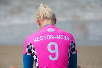 Huntington Beach, CA - August 06: Tatiana Weston-Webb meditates prior to the womens semi-finals heat at the Vans US Open of Surfing in Huntington Beach, California on August 6th, 2017. (Photo Jim Kruger/Kruger-images.com)