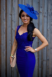 LIVERPOOL, ENGLAND - Thursday, April 6, 2017: Heidi, 26 from West Derby in Liverpool wearing a Michelle Keegan dress from Lipsy and Hat from Very.co.uk, during The Opening Day on Day One of the Aintree Grand National Festival 2017 at Aintree Racecourse. (Pic by David Rawcliffe/Propaganda)