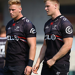 Jean-Luc du Preez with Daniel Du Preez during The Cell C Sharks training session at Growthpoint Kings Park in Durban, South Africa. 9th May 2017(Photo by Steve Haag)<br /> <br /> images for social media must have consent from Steve Haag