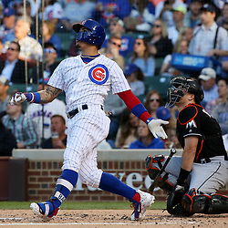 June 7, 2017 - Chicago, IL, USA - The Chicago Cubs' Javier Baez spits out his gum after swinging to fly out to center field in the second inning against the Miami Marlins at Wrigley Field in Chicago on Wednesday, June 7, 2017. (Credit Image: © John J. Kim/TNS via ZUMA Wire)