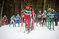 11 MAR 2011: Miles Havlick (1) of the University of Utah leads the pack during the men's 20km Classical Cross Country race during the 2011 NCAA Men and Women's Division I Skiing Championship held Stowe Mountain Resort and Trapp Family Lodge in Stowe, VT. Havlick placed 6th. ©Brett Wilhelm