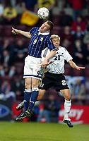Photo Aidan Ellis.<br />Scotland v New Zealand (intl friendly at Tynecastle)<br />27/05/2003.<br />Scotland's Kevin Kyle and Kiwi Gerard Davis