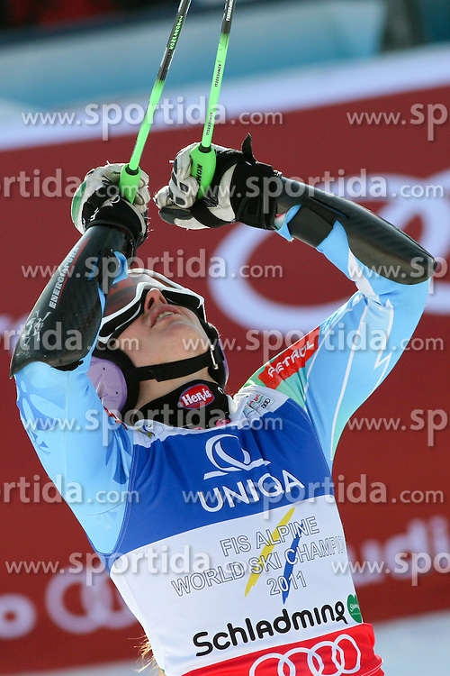 14.02.2013, Planai, Schladming, AUT, FIS Weltmeisterschaften Ski Alpin, Riesenslalom,  Damen, 2. Durchgang, im Bild Tina Maze (SLO) // Tina Maze of Slovenia reacts after 2nd run of ladies Giant Slalom at the FIS Ski World Championships 2013 at the Planai Course, Schladming, Austria on 2013/02/14. EXPA Pictures © 2013, PhotoCredit: EXPA/ Martin Huber