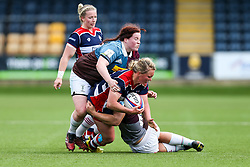 Izzy Noel Smith of Bristol Ladies is tackled - Rogan Thomson/JMP - 23/04/2017 - RUGBY UNION - Sixways Stadium - Worcester, England - Bristol Ladies Rugby v Aylesford Bulls - Women's Premiership Final.