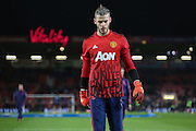David De Gea of Manchester United before the Barclays Premier League match between Bournemouth and Manchester United at the Goldsands Stadium, Bournemouth, England on 12 December 2015. Photo by Phil Duncan.