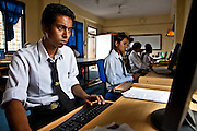 An IT class is taking place at the Jyoti Vocational Training and Rehabilitation Centre in Nepal.  The centre takes in disadvantaged children between the ages of 16 and 22 on a 2 year placement where the receive training including computer training. The JVTRC is run by the Child Welfare Scheme, Nepal (CWSN).