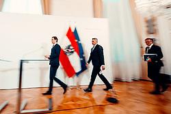 26.02.2020, Bundeskanzleramt, Wien, AUT, Bundesregierung, Doorsteps vor Sitzung des Ministerrats, im Bild v. l. Sebastian Kurz (OeVP), Karl Nehammer (OeVP), Rudolf Anschober (Gruene)// during media briefing before cabinet meeting at the federal chancellery in Vienna, Austria on 2020/02/26. EXPA Pictures © 2020, PhotoCredit: EXPA/ Florian Schroetter