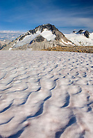 Mount Ethelweard 2819 m (9249 ft) seen from snow covered slopes above Athelney Pass, Coast Mountains British Columbia Canada