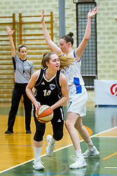Simona Kuzma of ZKK Maribor amd Marusa Senicar of ZKK Triglav Kranj during basketball match between ZKK Triglav Kranj and ZKD Maribor in Round #1 of 1. Slovenian Woman basketball league, on February 20, 2018 in ŠD Planina, Kranj, Slovenia. Photo by Ziga Zupan / Sportida