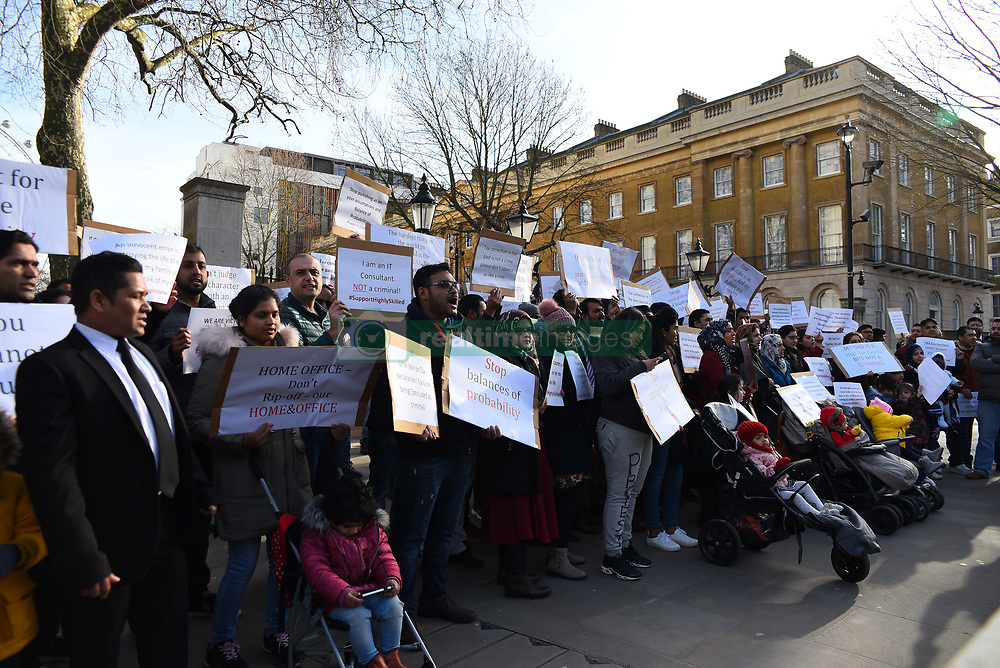 January 30, 2018 - London, United Kingdom - Migrants in professional occupation gathered and demonstrate outside Downing Street, London on January 30, 2018. The protest was meant to raise awareness of what they say are discriminatory, inhumane and hostile Home Office policies. (Credit Image: © Alberto Pezzali/NurPhoto via ZUMA Press)