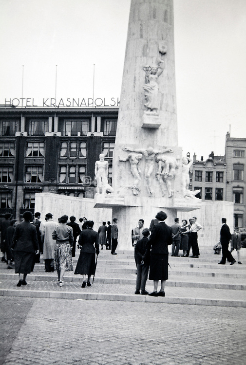 Amsterdam national monument  at Dam square 1950s