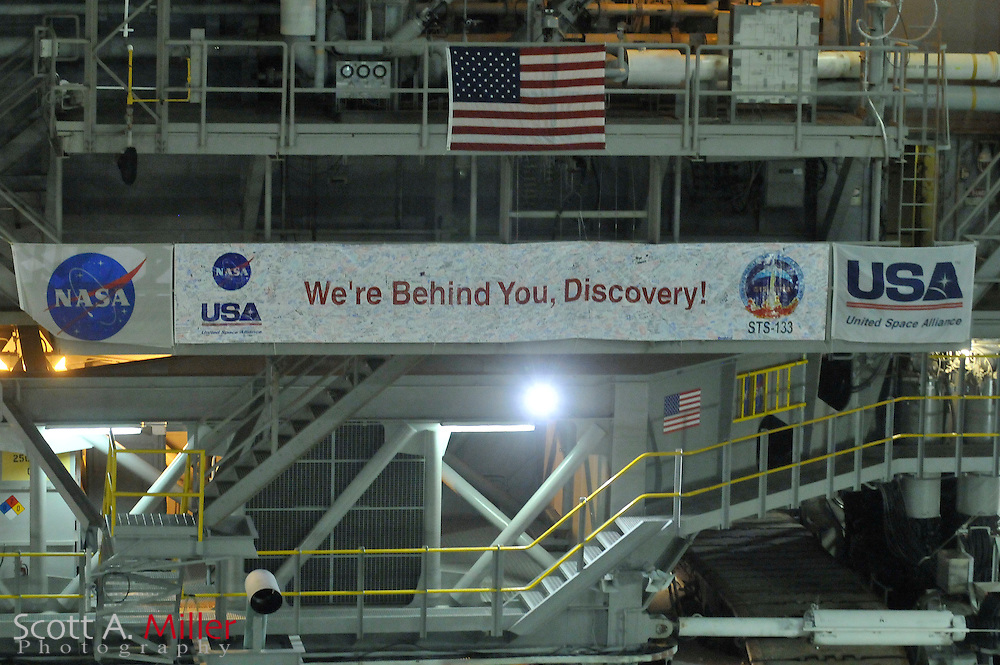 """Sept 20, 2010: Space Shuttle Discovery makes its last trip from the Vehicle Assembly Building en route to Launch Pad 39A for it's planned Nov. 1, 2010 launch from Cape Canaveral.  .Discovery has flown 38 flights, completed 5,247 orbits, and has spent 322 days in orbit. Discovery is the orbiter fleet leader, having flown more flights than any other orbiter in the fleet, including four in 1985 alone. Discovery flew all three """"return to flight"""" missions after the Challenger and Columbia disasters: STS-26 in 1988, STS-114 in 2005, and STS-121 in 2006. ..©2010 Scott A. Miller"""