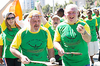 22/11/2015  repro fee. A group of  irish people travelled with Gorta-Self Help Africa travelled to the capital of Ethiopia Addis Ababa for the great Ethiopian run. In temperatures in the mid 30 degree heat and 40,000 people and a city at 7,500 feet above sea level, it's no mean feat.  Ronan Scully Gorta-Self Help Africa and Brian Smith from Cork even brought the hurleys. Photo:Andrew Downes.