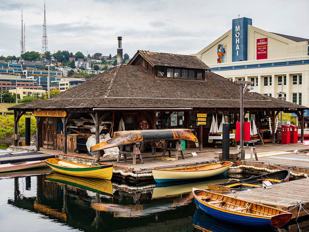 United States, Washington, Seattle,  Center for Wooden Boats on Lake Union and MOHAI (Museum of History and Industry)