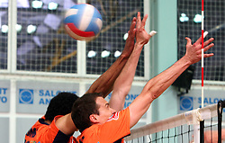 ACH Volley block (Thomas, Satler) at 4th and final match of Slovenian Voleyball  Championship  between OK Salonit Anhovo (Kanal) and ACH Volley (from Bled), on April 23, 2008, in Kanal, Slovenia. The match was won by ACH Volley (3:1) and it became Slovenian Championship Winner. (Photo by Vid Ponikvar / Sportal Images)/ Sportida)