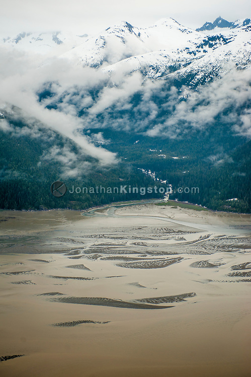 Aerial view of Taku Inlet near Juneau, Alaska.