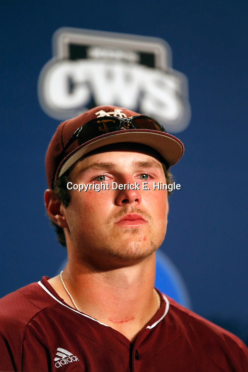 Jun 25, 2013; Omaha, NE, USA; Mississippi State Bulldogs right fielder Hunter Renfroe (34) addresses the media in a press conference after game 2 of the College World Series finals against the UCLA Bruins at TD Ameritrade Park. UCLA defeated Mississippi State 8-0. Mandatory Credit: Derick E. Hingle-USA TODAY Sports