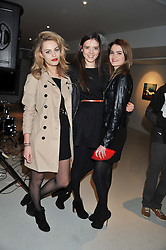 Left to right, GEMMA JAMES, ALEX SKILBECK and GEORGIA DAVIES at Diego Bivero-Volpe's 30th birthday party in aid of the charity Kids Company held at the Rook & Raven Gallery, 7 Rathbone Place, London W1 on 12th April 2013.