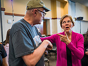 16 NOVEMBER 2019 - WAVERLY, IOWA: US Senator ELIZABETH WARREN (D-MA), right, talks to a supporter after her campaign speech at Wartburg College. Sen. Warren campaigned at Wartburg College in Waverly Saturday afternoon. She is running to be the Democratic candidate for the US Presidency in the 2020 election. Iowa hosts the first selection event of the presidential election season. The Iowa caucuses are February 3, 2020.         PHOTO BY JACK KURTZ