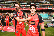 17th February 2019, Marvel Stadium, Melbourne, Australia; Australian Big Bash Cricket League Final, Melbourne Renegades versus Melbourne Stars; Dan Christian and Cameron Boyce of the Melbourne Renegades celebrates their BBL 08 win