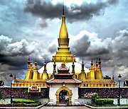 That Luang (temple), Vientiane, Laos, regarded by the Lao people as the most important landmark in Laos.