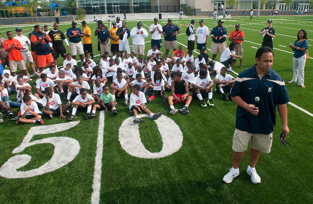 Ken Niumatalolo, head football coach for the United States Naval Academy speaks to kids attending the NCAA Youth Football clinic hosted by the Military Bowl presented by Northrop Grumman was held June 11, 2011 at Deanwood Recreation Center in Washington, DC.  ( Alan Lessig/Alan Lessig Photography)........