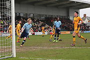 Blackpool FC Mark Cullen (9) scores from the spot and celebrates the goal 0-2 second half during the EFL Sky Bet League 2 match between Newport County and Blackpool at Rodney Parade, Newport, Wales on 18 March 2017. Photo by Gary Learmonth.