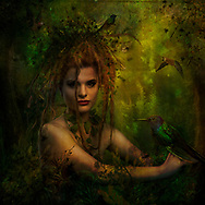Portrait of a forest goddess holding and exotic bird in a deep forest setting with some golden light illuminating the background, her wild hair and more exotic birds