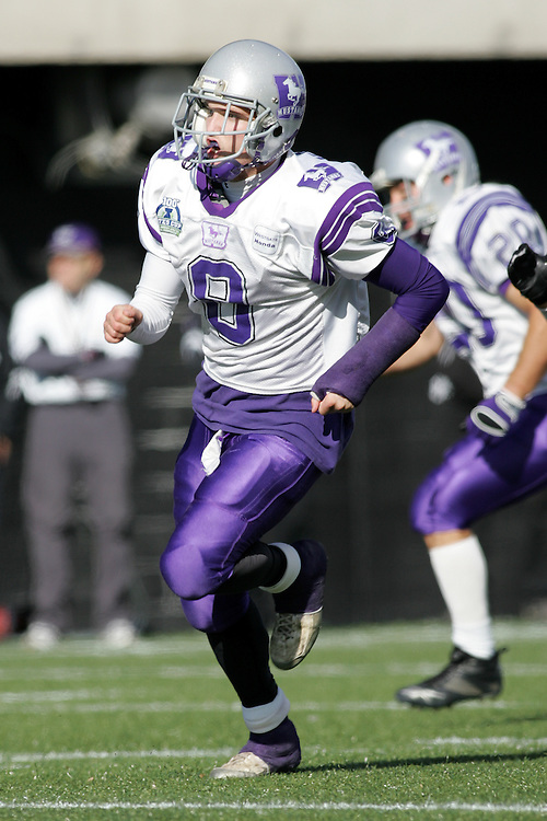 (3 November 2007 -- Ottawa) The University of Western Ontario Mustangs defeating the University of Ottawa Gee Gees lost to 16-23 in OUA football semi-final action in Ottawa. The University of Western Ontario Mustangs player pictured in action is Corey Mcnair