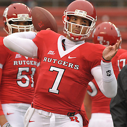 Dec 5, 2009; Piscataway, NJ, USA; Rutgers quarterback Tom Savage (7) warms up before first half NCAA Big East college football action between Rutgers and West Virginia at Rutgers Stadium.
