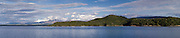 Panoramic view of Manapouri and Lake Manapouri from the Real Journey's cruise ship; 22 Sept 2012
