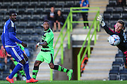 Aaron O'Connor scores his first goal for Forest Green Rovers to equalise against Cardiff  the Pre-Season Friendly match between Forest Green Rovers and Cardiff City at the New Lawn, Forest Green, United Kingdom on 15 July 2015. Photo by Shane Healey.