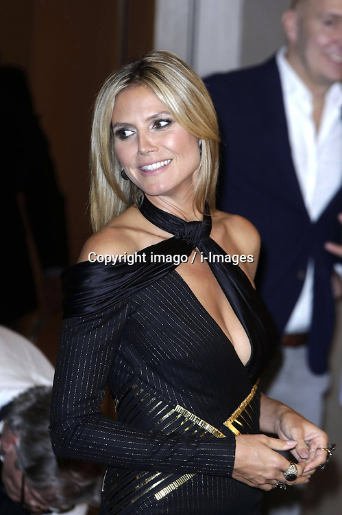59711934  German model Heidi Klum  poses prior to Klum's June 1 birthday at a photo call for the reality television show and modelling competition 'Germany's Next Topmodel' at Waldorf Astoria on May 27, 2013 in Berlin, Germany..UK ONLY