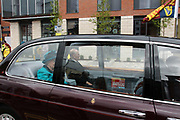 EXCLUSIVE -PRINCE PHILIP AND THE QUEEN IN THE BACK OF THE STATE LIMO LEAVING LEICESTER. HOWEVER, THERE IS A COPY OF THE AA ROAD ATLAS IN THE BACK CLEARLY VISIBLE NEXT TO THEM. DOES THE  QUEEN USE THE AA GUIDE TO GET AROUND!<br />