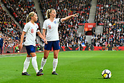 Jordan Nobbs (8) of England and Toni Duggan (11) of England line up a free kick during the FIFA Women's World Cup UEFA Qualifier match between England Ladies and Wales Women at the St Mary's Stadium, Southampton, England on 6 April 2018. Picture by Graham Hunt.