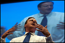 The Prime Minister David Cameron at The National Convention at The Conservative Party Conference at ICC, Birmingham, on day one of the Party Conference, Sunday October 7, 2012. Photograph by Andrew Parsons / i-Images