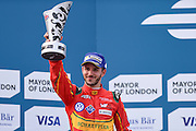 Daniel ABT of Germany and ABT Shuffler Audi Sport celebrates 2nd place during Round 10, Formula E, Battersea Park, London, United Kingdom on 3 July 2016. Photo by Martin Cole.