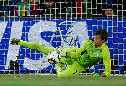 Goalkeeper of Uruguay Fernando Muslera  during penalty shots at the 2010 FIFA World Cup South Africa Quarter Finals football match between Uruguay and Ghana on July 02, 2010 at Soccer City Stadium in Sowetto, suburb of Johannesburg. (Photo by Vid Ponikvar / Sportida)