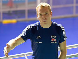 © Licensed to London News Pictures. 25/09/2012. Manchester, UK. Sir Chris Hoy talks to competition winners from across the UK at the National Cycling Centre , Manchester . Sky Ride competition entrants won the opportunity to meet and cycle with the Olympic Gold Medallist . Photo credit : Joel Goodman/LNP