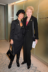 Left to right, DENISE HORNE and JOAN MORECAMBE at a tribute lunch in honour of Michael Aspel hosted by The Lady Taverners at The Dorchester, Park Lane, London on 14th November 2008.