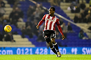 Brentford FC midfielder Florian Jozefzoon (7) looks to release the ball during the EFL Sky Bet Championship match between Birmingham City and Brentford at St Andrews, Birmingham, England on 1 November 2017. Photo by Dennis Goodwin.
