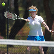 Elizabeth Allan, Australia, in action in the 60 Womens Singles during the 2009 ITF Super-Seniors World Team and Individual Championships at Perth, Western Australia, between 2-15th November, 2009.