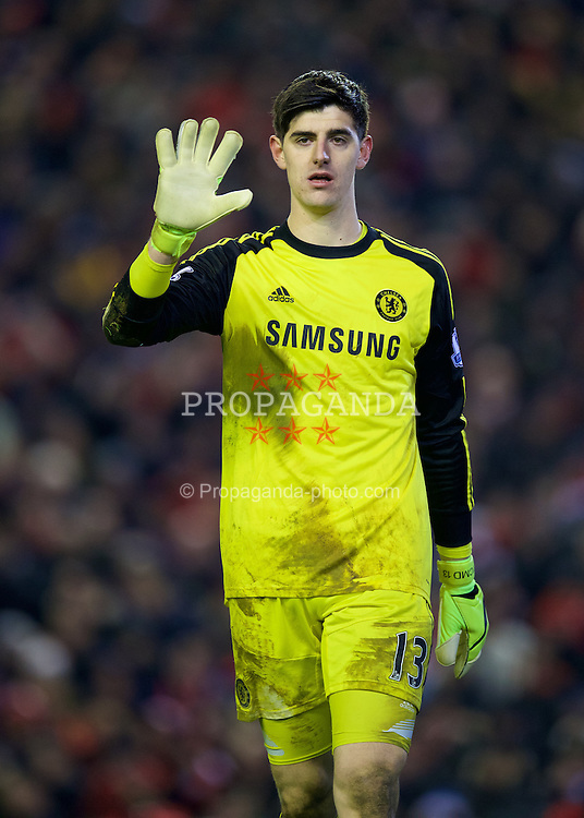 LIVERPOOL, ENGLAND - Tuesday, January 20, 2015: Chelsea's goalkeeper Thibaut Courtois during the Football League Cup Semi-Final 1st Leg match against Liverpool at Anfield. (Pic by David Rawcliffe/Propaganda)