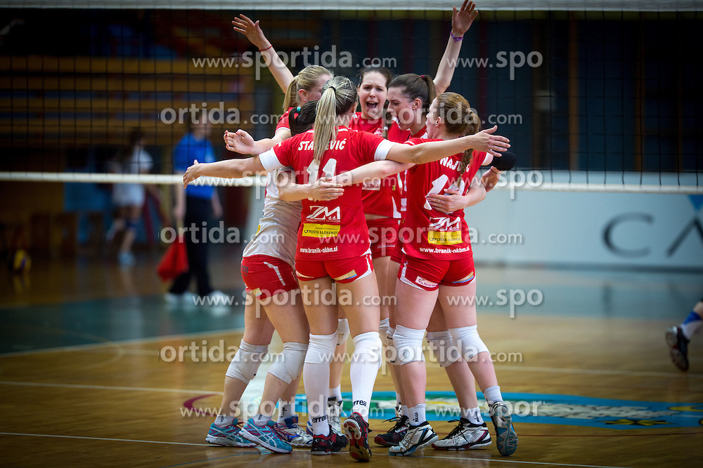 Players of Nova KBM Branik celebrate during volleyball match game between Calcit Kamnik and NKBM Branik in 3rd leg of Finals of Slovenian National Championship 2014, on April 5, 2014 in Sportna dvorana, Kamnik, Slovenia. Photo by Matic Klansek Velej / Sportida