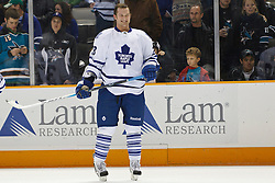 January 11, 2011; San Jose, CA, USA; Toronto Maple Leafs right wing Colton Orr (28) warms up before the game against the San Jose Sharks at HP Pavilion. Toronto defeated San Jose 4-2. Mandatory Credit: Jason O. Watson / US PRESSWIRE