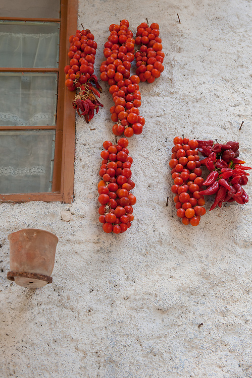 Tomatoes hung to dry on a wall of an old house in the village of Pyrgi in Chios, Greece. <br /> <br /> Pyrgi in Chios is known as the &quot;painted village&quot; on account of the decoration of the houses. The village still keeps its medieval style and together with the other Mastichochoria (Mastic Villages) are in the list of the Intangible Cultural Heritage of Humanity of UNESCO