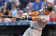 New York Yankees first basemen Mark Teixeira (25) at bat against the Kansas City Royals during the first inning at Kauffman Stadium.