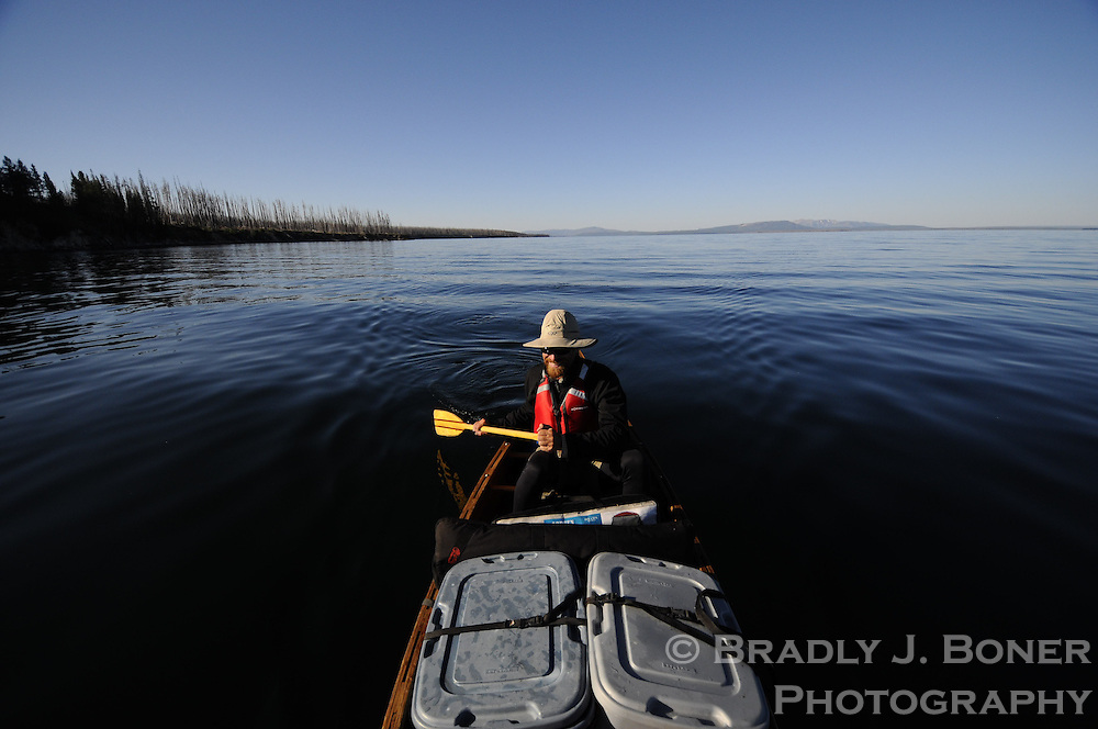 Backcountry canoe trip on Yellowstone Lake, Yellowstone National Park, Wyoming
