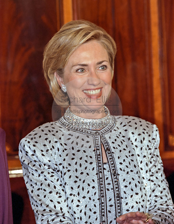 U.S First Lady Hillary Rodham Clinton during a State Dinner welcoming Czech leader Vaclav Havel, to the White House September 16, 1998 in Washington, DC.